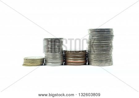 silver coins stack isolated on white background
