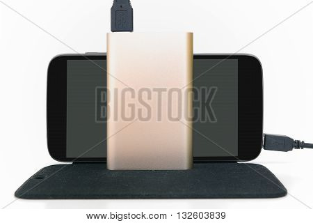 Mobile phone and power bank isolate on white background