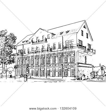 Vector black and white image of a building. Architecture of the early 20th century.