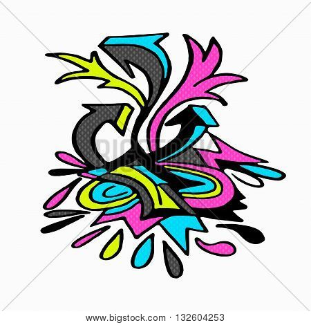graffiti isolated object on a white background vector illustration