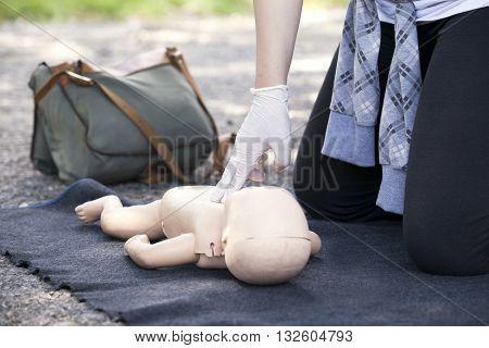 First aid training detail. Cardiopulmonary resuscitation (CPR).