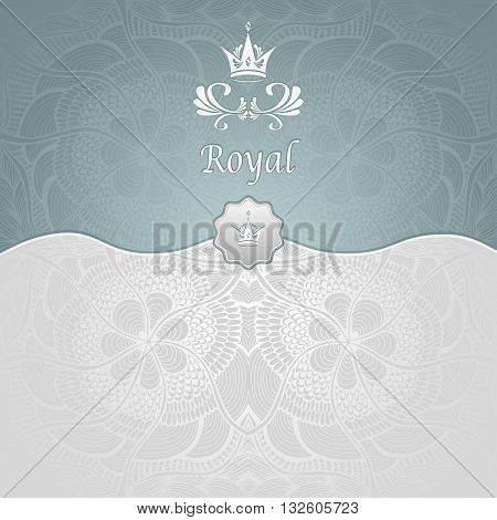 Royal template background with crown and Zen-tangle seamless pattern in silver blue colors for decorate package or for advertising different things