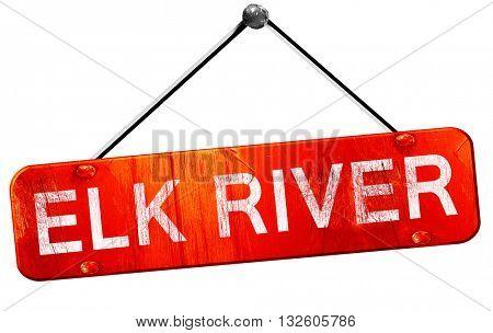 elk river, 3D rendering, a red hanging sign