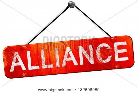 alliance, 3D rendering, a red hanging sign