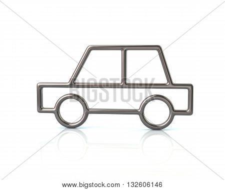 3D Illustration Of Silver Sedan Car Icon
