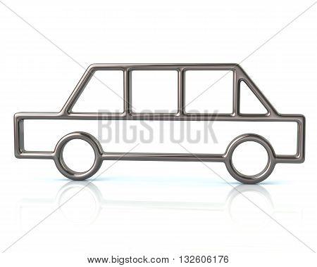 3D Illustration Of Silver Limousine Car