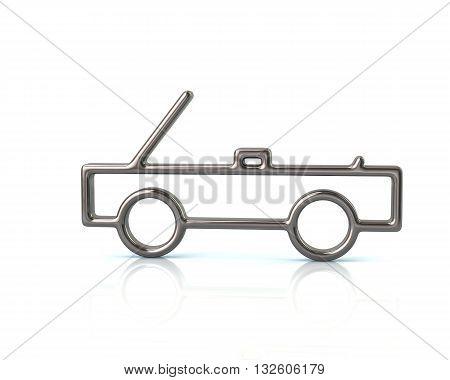 3D Illustration Of Silver Cabriolet Car Icon