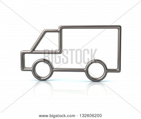 3d illustration of silver truck car icon isolated on white background