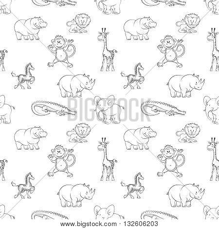Wild animals lion elephant zebra hippo monkey seamless pattern cartoon style