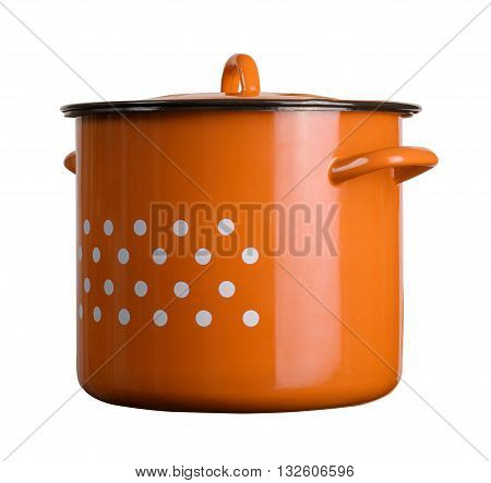 horizontal front view of a large classic cooking orange pot with dots isolated on white background