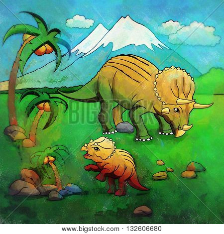 Triceratops. Illustration of a dinosaur in its habitat.