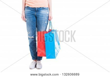 Shopaholic Concept With Woman Holding Big Shopping Bags