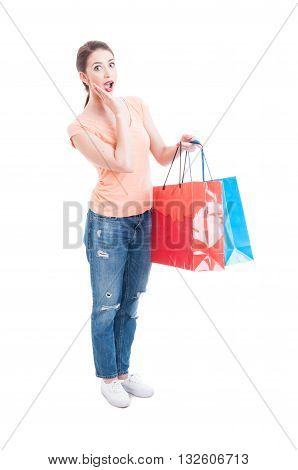 Enthusiastic And Happy Woman Holding Shopping Bags