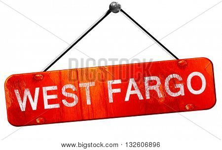 west fargo, 3D rendering, a red hanging sign