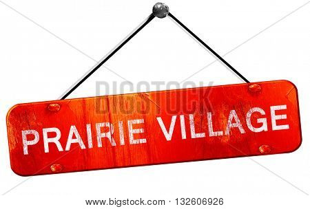 prairie village, 3D rendering, a red hanging sign