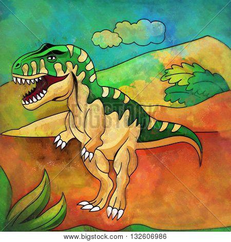 Tyrannosaurus. Illustration of a dinosaur in its habitat.