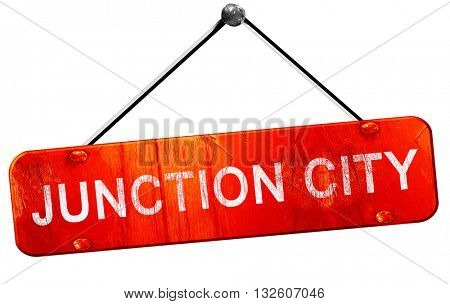 junction city, 3D rendering, a red hanging sign
