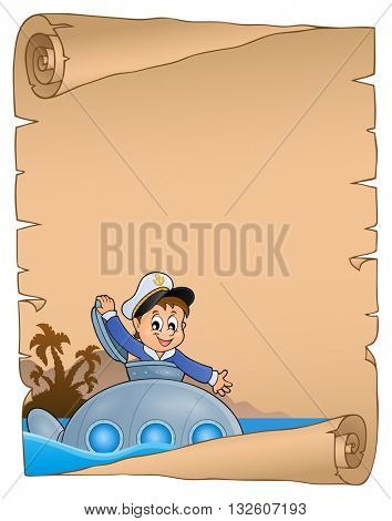 Stylized parchment with submarine theme - eps10 vector illustration.