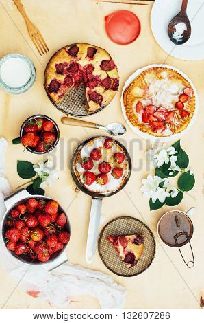 Serving Homemade Strawberry Cake Or Pie On Wooden Rustic Table.