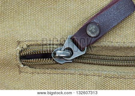 Zipper opening closeup texture canvas design background