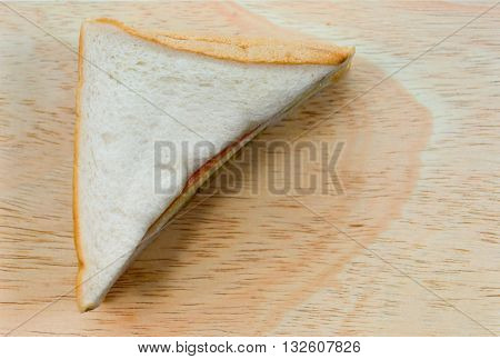 Sandwich bolognese and frizzy pork (Mu Yong) on wood background