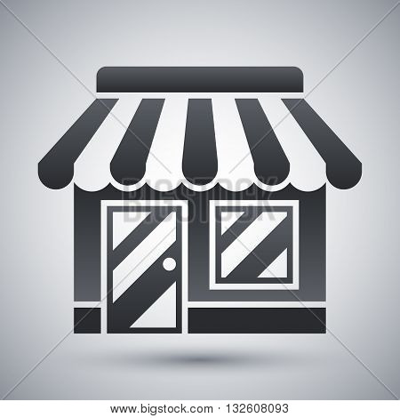 Vector Store or Shop icon. Shop or Store simple icon on a light gray background