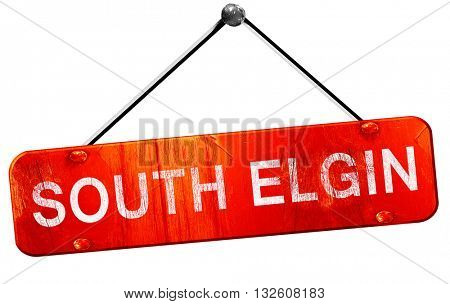 south elgin, 3D rendering, a red hanging sign