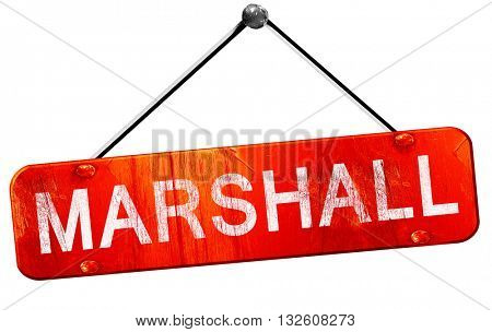marshall, 3D rendering, a red hanging sign