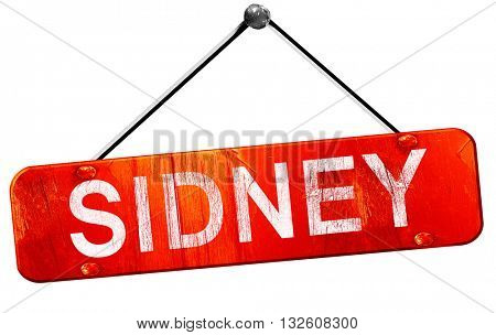 sidney, 3D rendering, a red hanging sign
