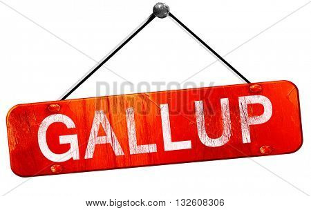 gallup, 3D rendering, a red hanging sign
