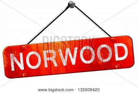 norwood, 3D rendering, a red hanging sign