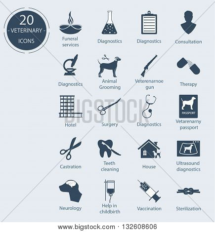 Set veterinary icons. Number - 20. Vector icons