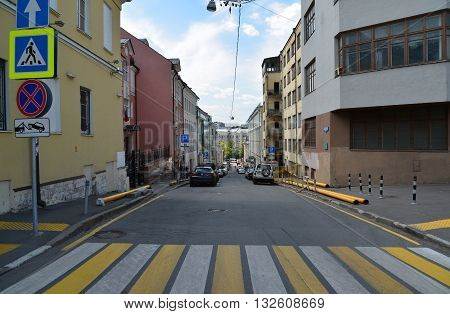 Moscow, Russia - June 2, 2016. Nizhny Kiselny lane in the historic city