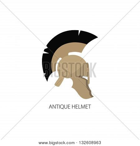 Antiques Roman or Greek Helmet Isolated on White, Helmet with a Black Crest of Feathers or Horsehair with Slits for the Eyes and Mouth, Vector Illustration