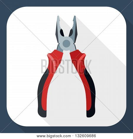 Vector Open Pliers icon. Open Pliers simple icon in flat style with long shadow