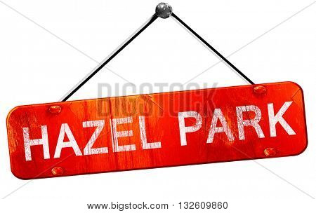 hazel park, 3D rendering, a red hanging sign