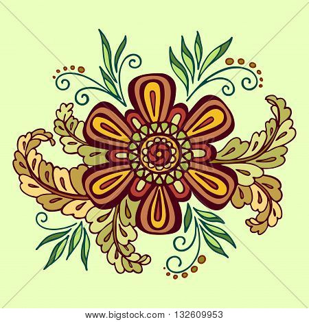 Pattern, Symbolic Colorful Flower and Leafs, Floral Ornament on Green Background. Vector