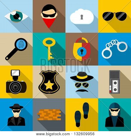 Spy icons set in flat style for any design