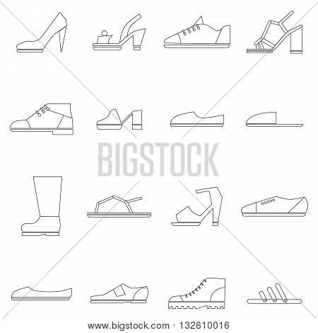 Shoes icons set in thin line style isolated on white background