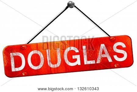 douglas, 3D rendering, a red hanging sign