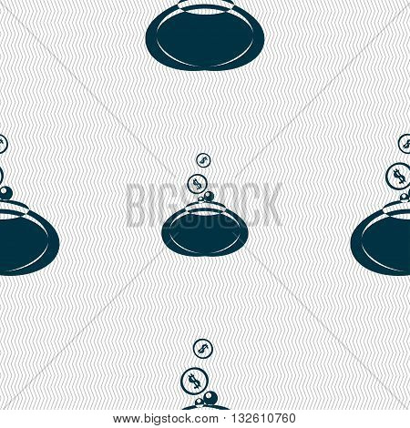 Retro Purse Icon Sign. Seamless Pattern With Geometric Texture. Vector