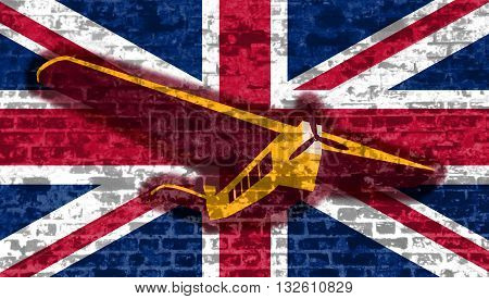 Image relative to airplane traveling. Retro airplanes flight on Britain flag backdrop textured by old brick wall