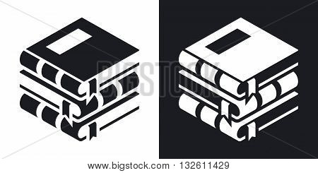 Vector Book icon. Two-tone version of Stack of Book simple icon on black and white background