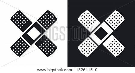 Vector Plaster icon. Two-tone version of Adhesive Plaster or Sticking-Plaster simple icon on black and white background
