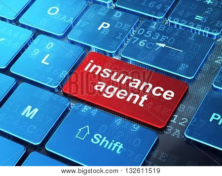 Insurance concept: computer keyboard with word Insurance Agent on enter button background, 3D rendering