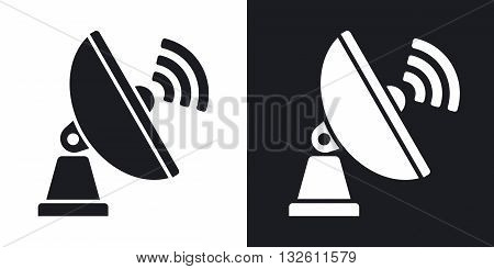 Vector Satellite Antenna icon. Two-tone version of Satellite Antenna simple icon on black and white background