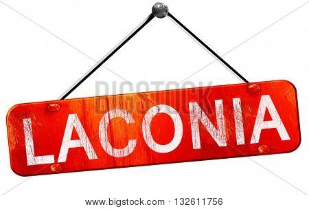 laconia, 3D rendering, a red hanging sign