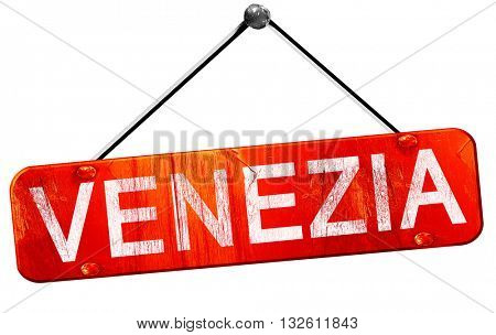 Venezia, 3D rendering, a red hanging sign