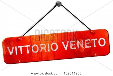 Vittorio veneto, 3D rendering, a red hanging sign