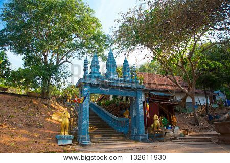 Old Town Udong. Blue Arch Entrance. Cambodia.